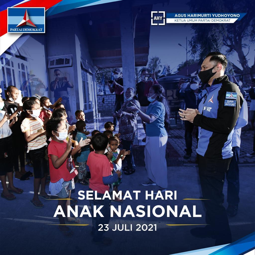 Hari Anak Nasional, AHY: Orang Tua Jadi Garda Terdepan Lindungi Anak dari Covid-19
